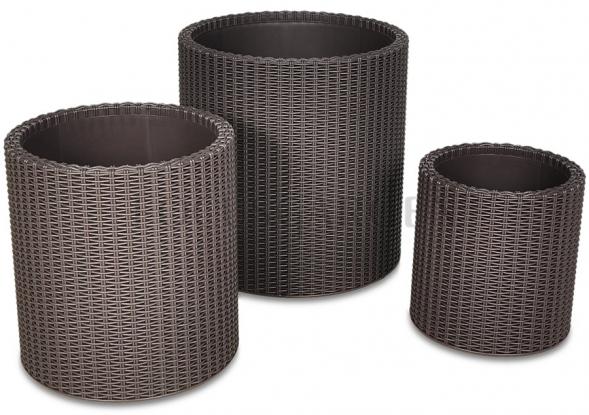 Komplet Doniczek Cylinder Brown